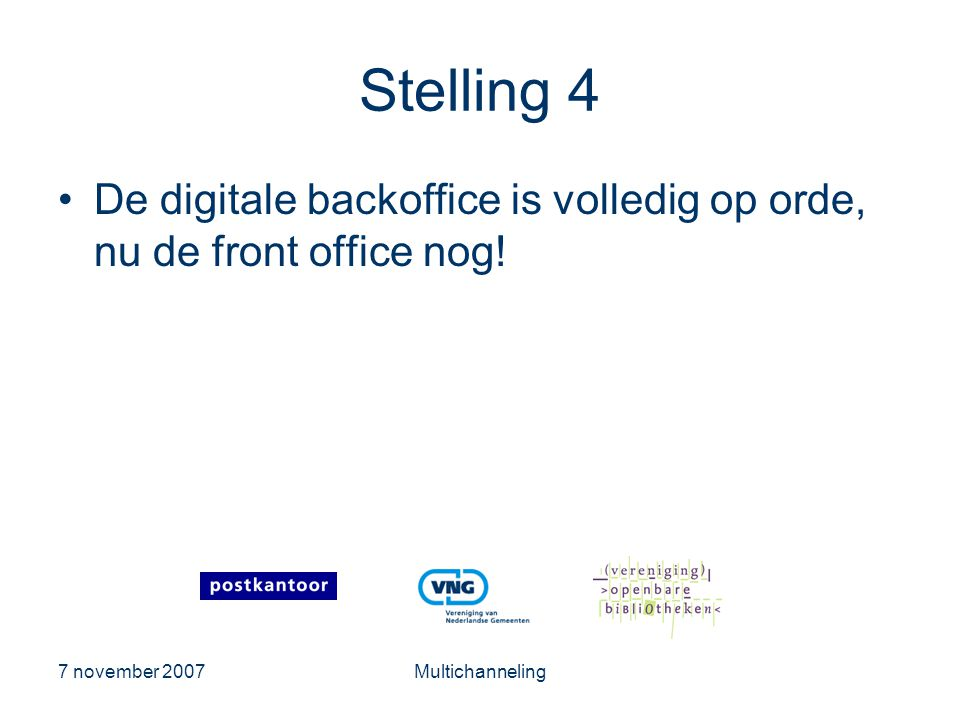 Stelling 4 De digitale backoffice is volledig op orde, nu de front office nog.