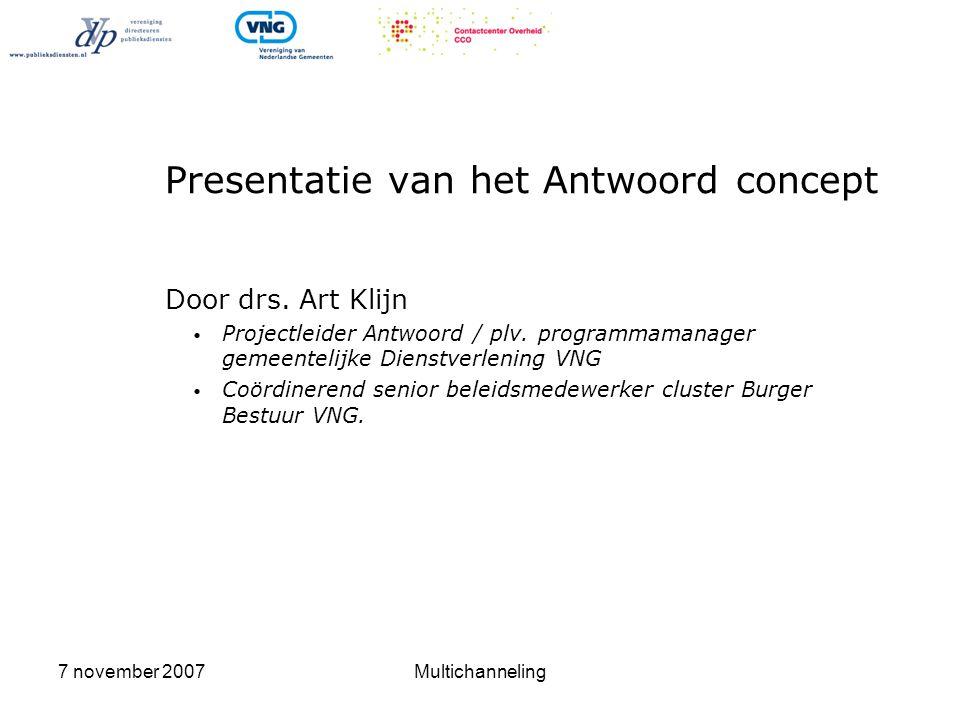 Presentatie van het Antwoord concept