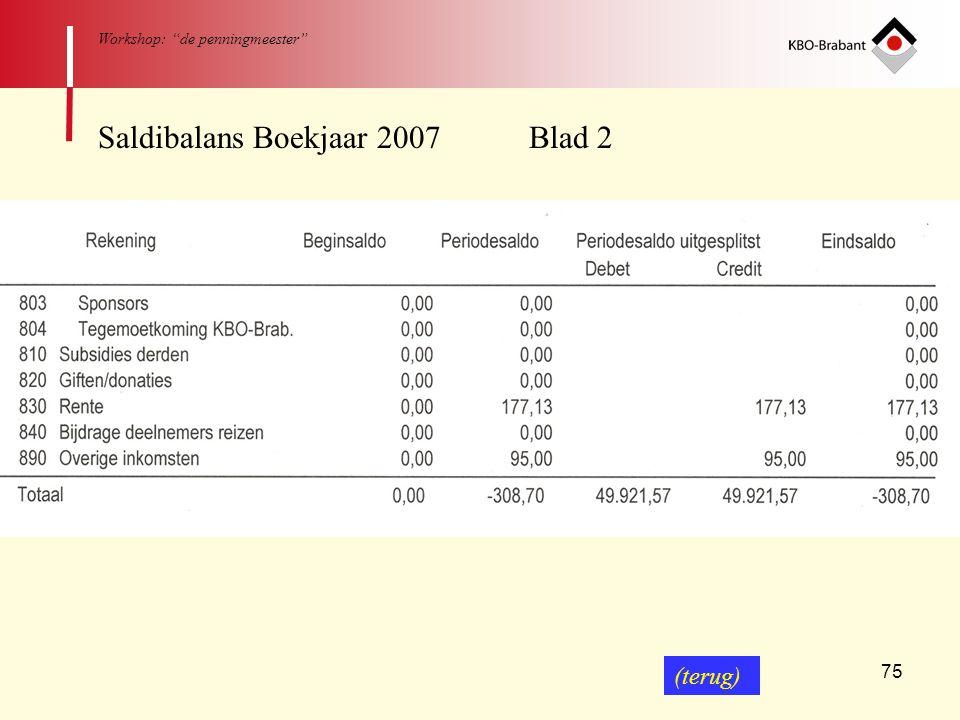 Saldibalans Boekjaar 2007 Blad 2