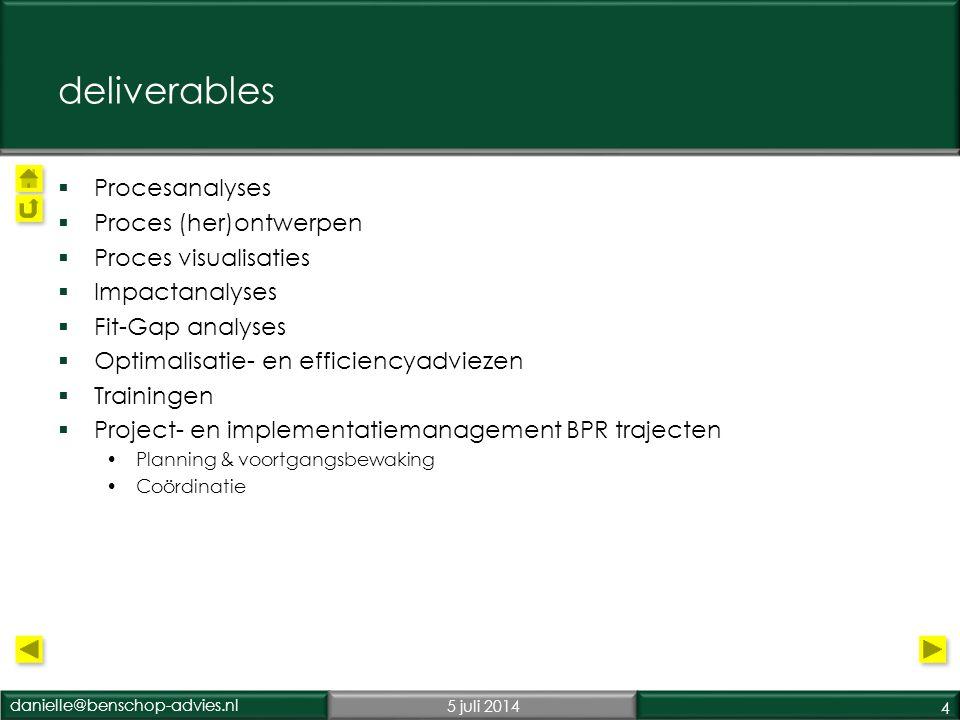 deliverables Procesanalyses Proces (her)ontwerpen Proces visualisaties