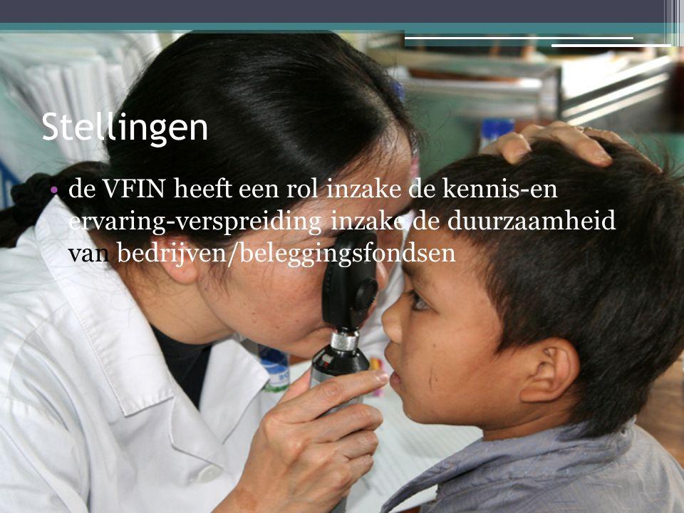 Stellingen de VFIN heeft een rol inzake de kennis-en ervaring-verspreiding inzake de duurzaamheid van bedrijven/beleggingsfondsen.