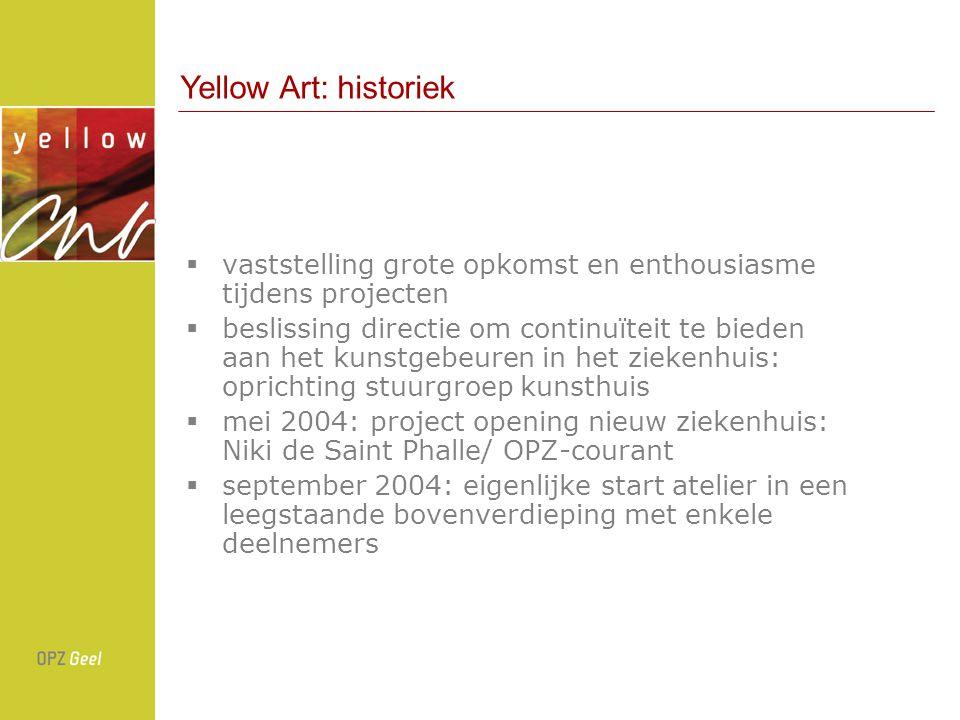 Yellow Art: historiek vaststelling grote opkomst en enthousiasme tijdens projecten.