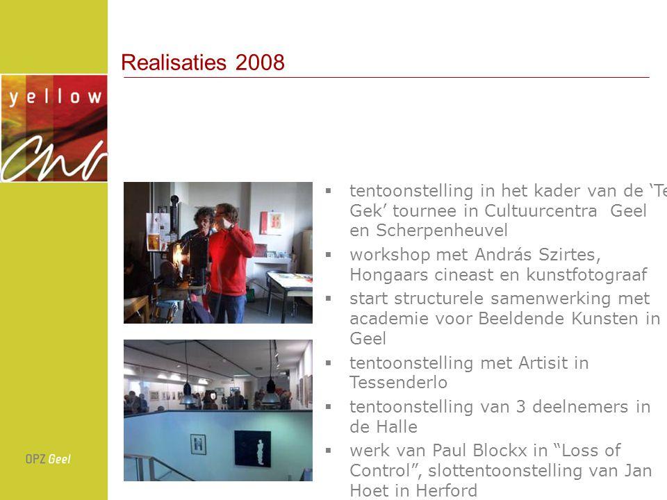 Realisaties 2008 tentoonstelling in het kader van de 'Te Gek' tournee in Cultuurcentra Geel en Scherpenheuvel.