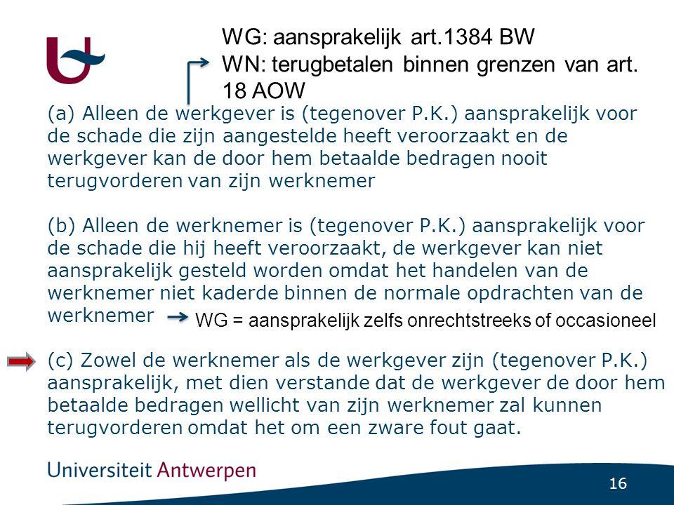 WG: aansprakelijk art.1384 BW