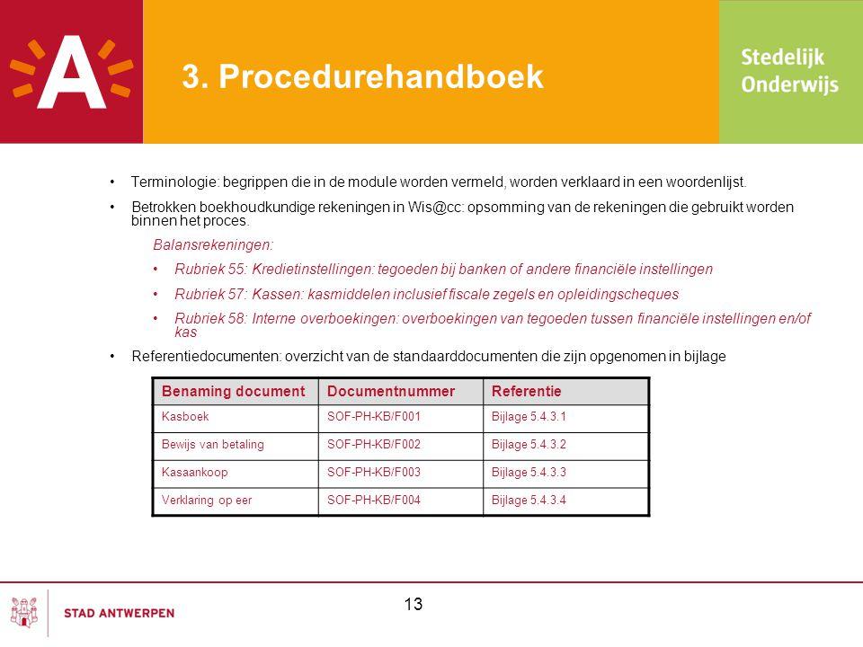 3. Procedurehandboek Terminologie: begrippen die in de module worden vermeld, worden verklaard in een woordenlijst.