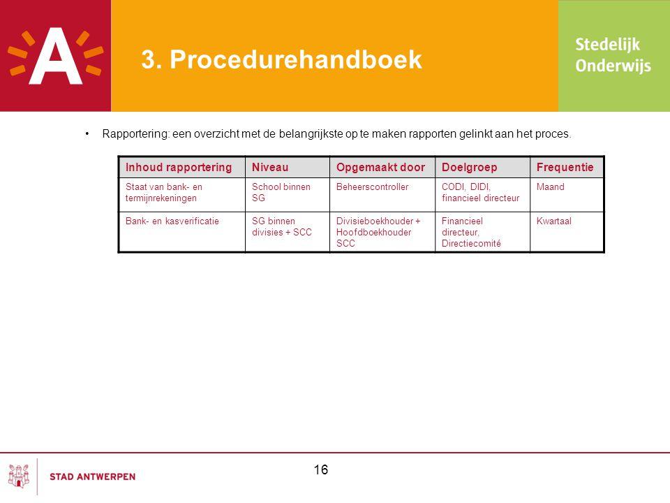 3. Procedurehandboek Rapportering: een overzicht met de belangrijkste op te maken rapporten gelinkt aan het proces.