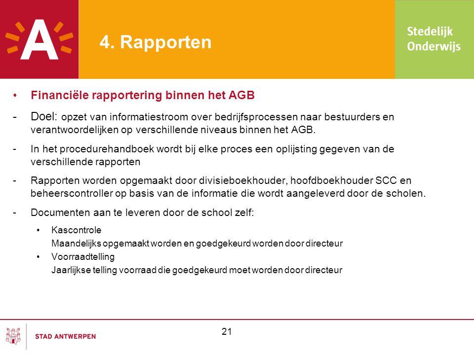4. Rapporten Financiële rapportering binnen het AGB