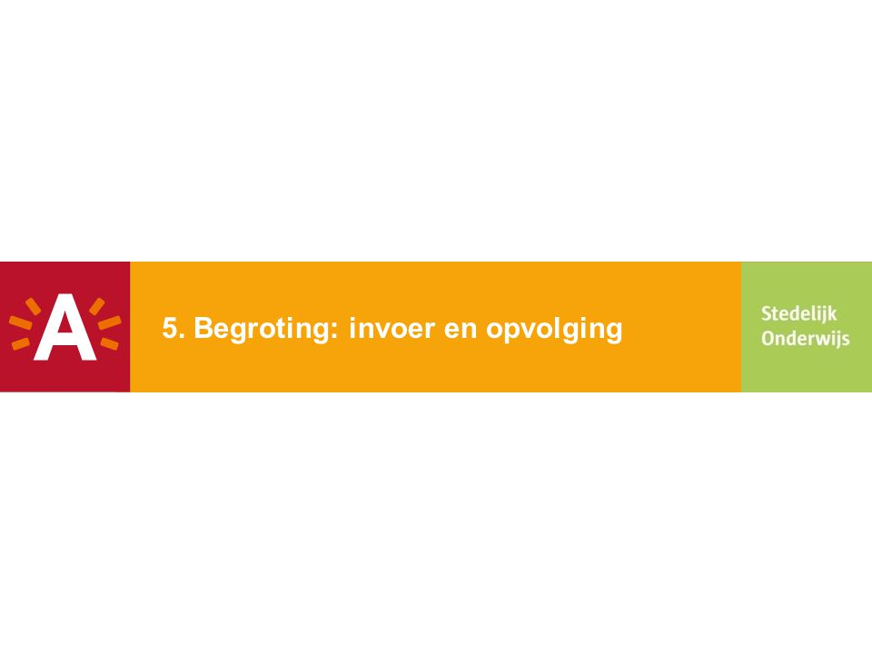 5. Begroting: invoer en opvolging