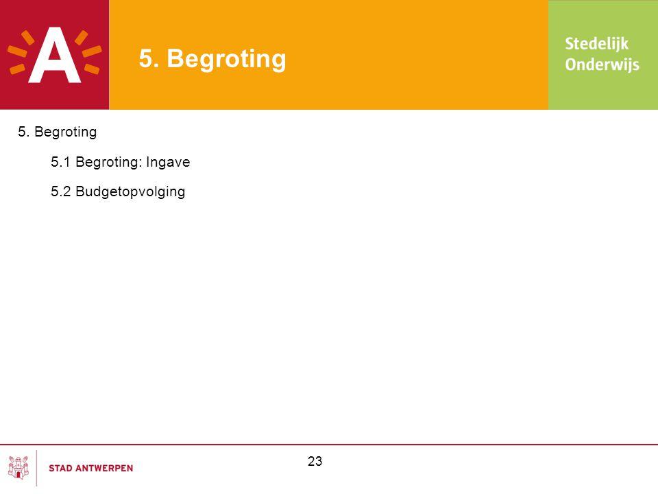 5. Begroting 5. Begroting 5.1 Begroting: Ingave 5.2 Budgetopvolging 23