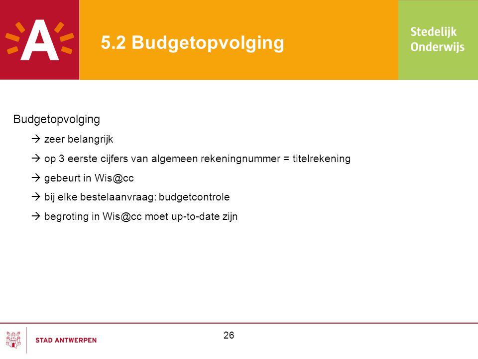 5.2 Budgetopvolging Budgetopvolging  zeer belangrijk