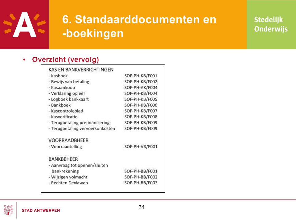 6. Standaarddocumenten en -boekingen