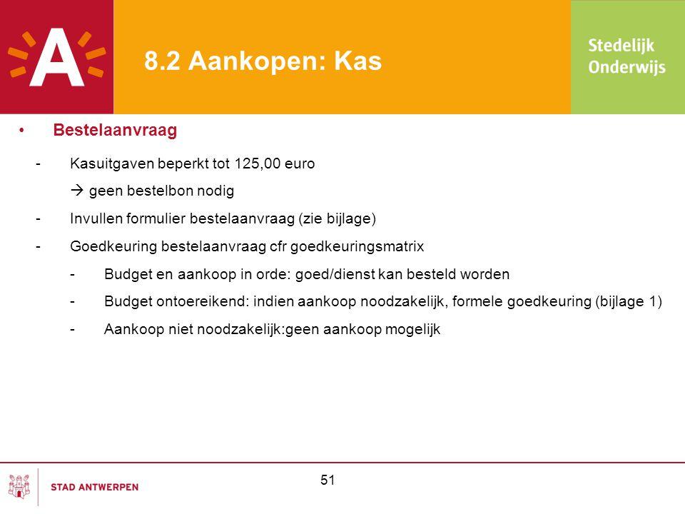 8.2 Aankopen: Kas Bestelaanvraag Kasuitgaven beperkt tot 125,00 euro