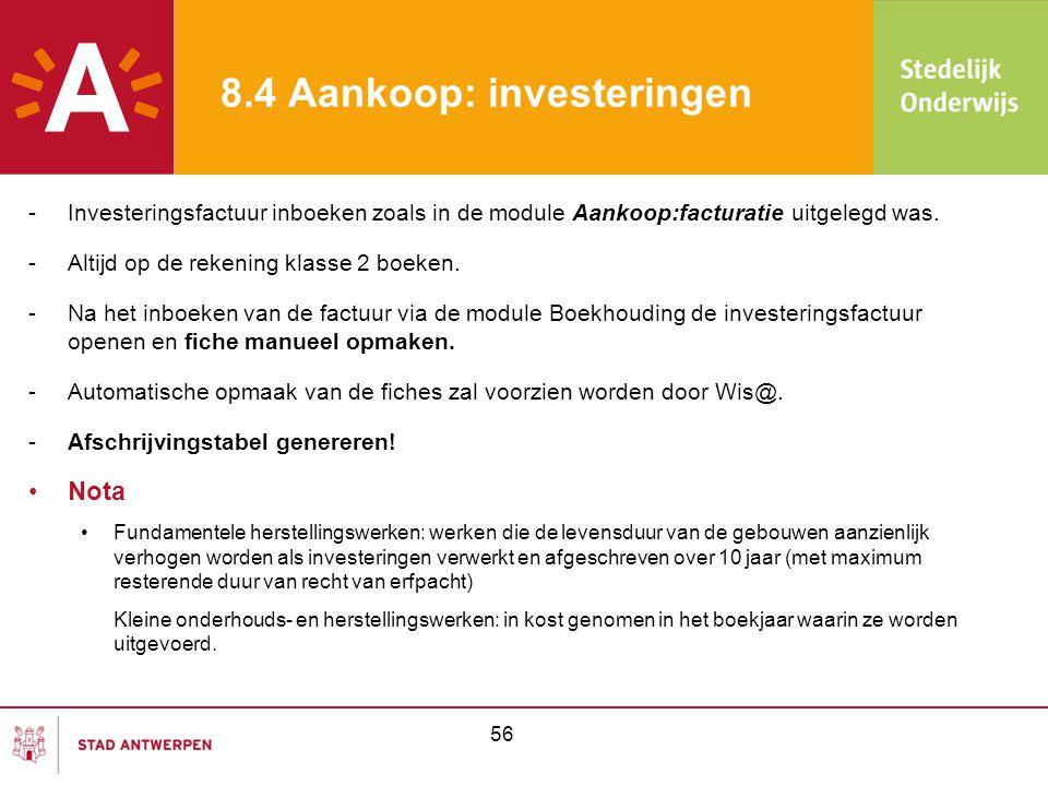 8.4 Aankoop: investeringen