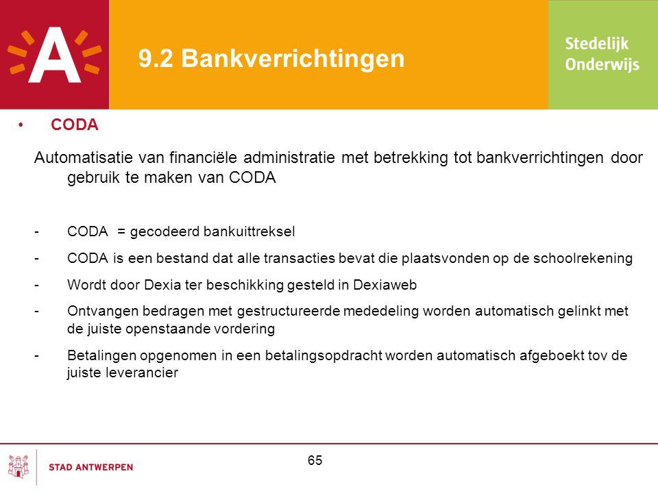 9.2 Bankverrichtingen CODA