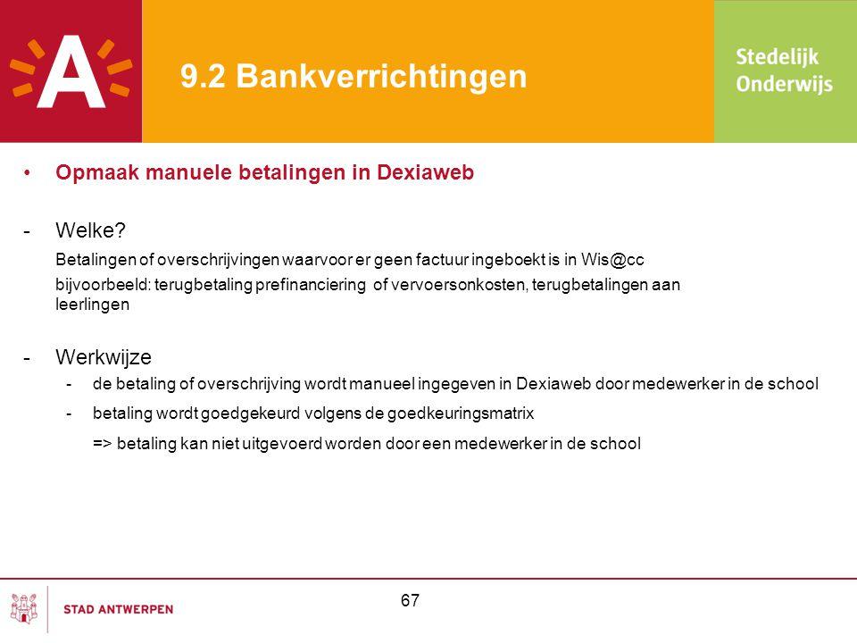 9.2 Bankverrichtingen Opmaak manuele betalingen in Dexiaweb Welke
