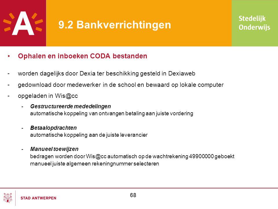 9.2 Bankverrichtingen Ophalen en inboeken CODA bestanden