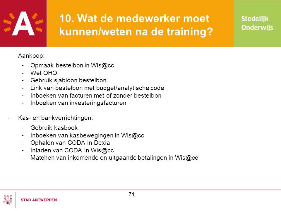 10. Wat de medewerker moet kunnen/weten na de training