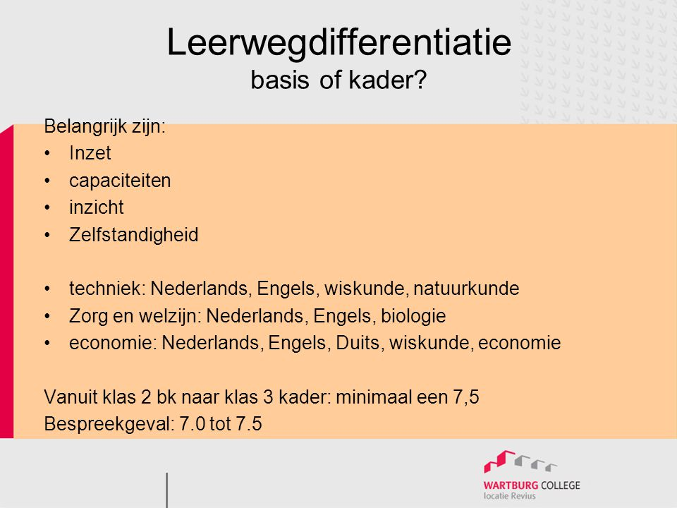 Leerwegdifferentiatie basis of kader