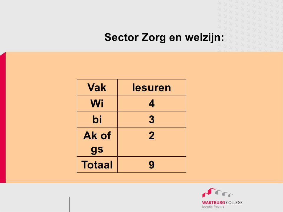 Sector Zorg en welzijn: