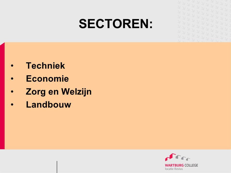 SECTOREN: Techniek Economie Zorg en Welzijn Landbouw
