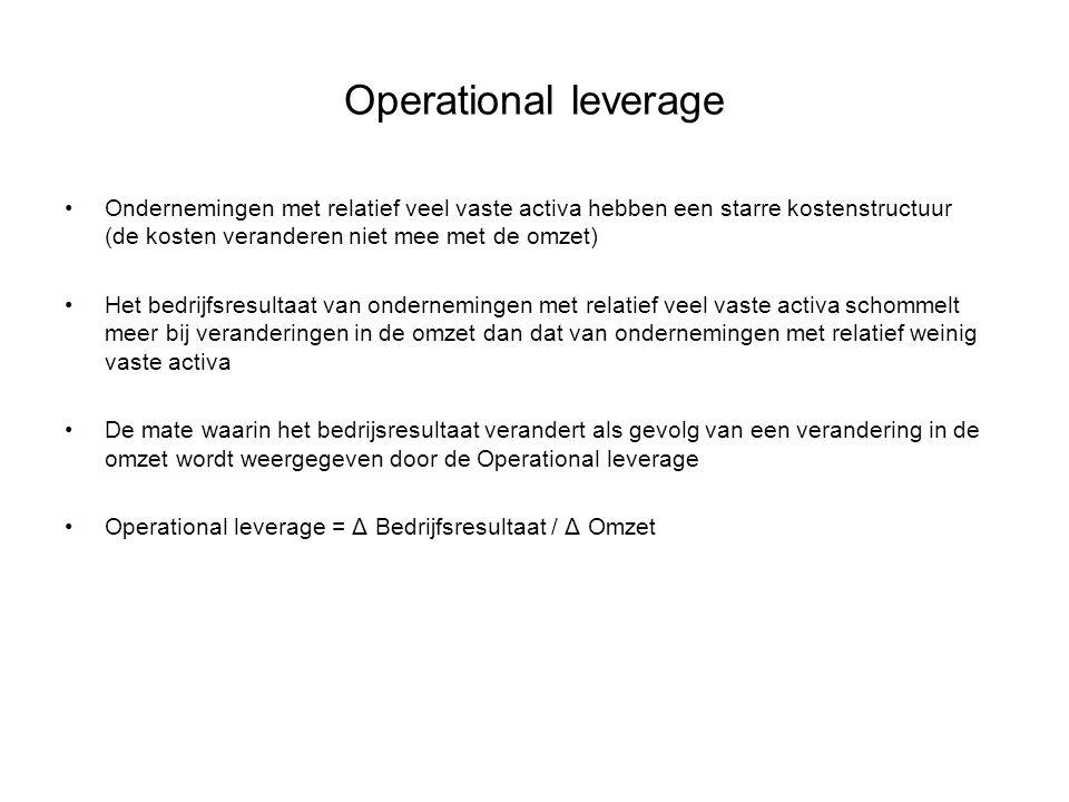 Operational leverage Ondernemingen met relatief veel vaste activa hebben een starre kostenstructuur (de kosten veranderen niet mee met de omzet)