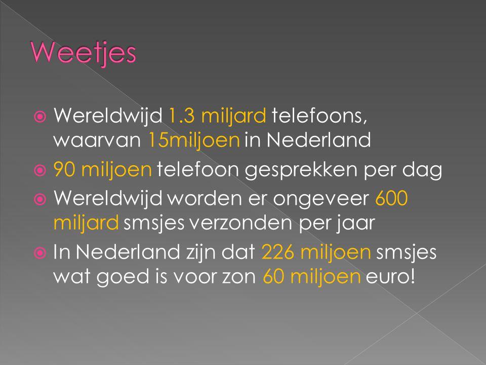 Weetjes Wereldwijd 1.3 miljard telefoons, waarvan 15miljoen in Nederland. 90 miljoen telefoon gesprekken per dag.