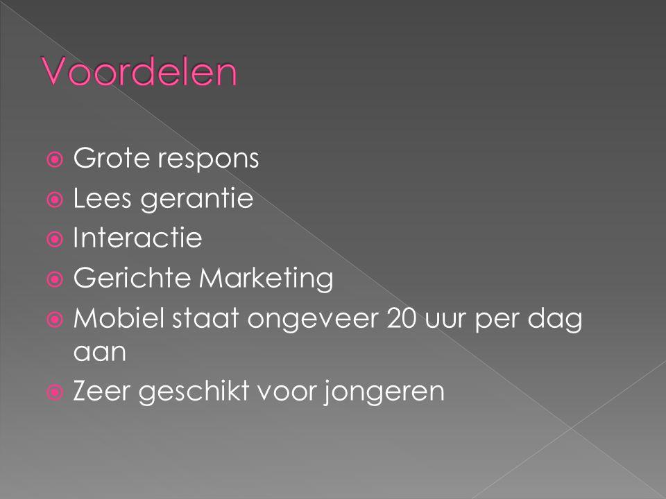 Voordelen Grote respons Lees gerantie Interactie Gerichte Marketing