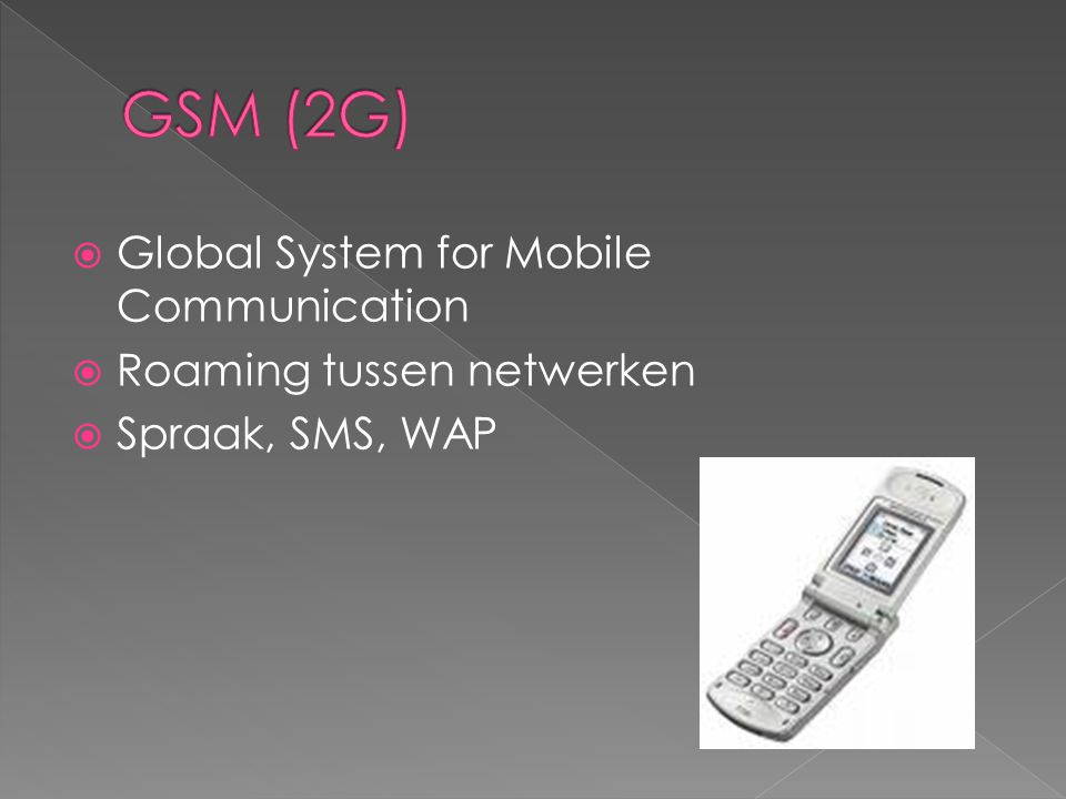 GSM (2G) Global System for Mobile Communication