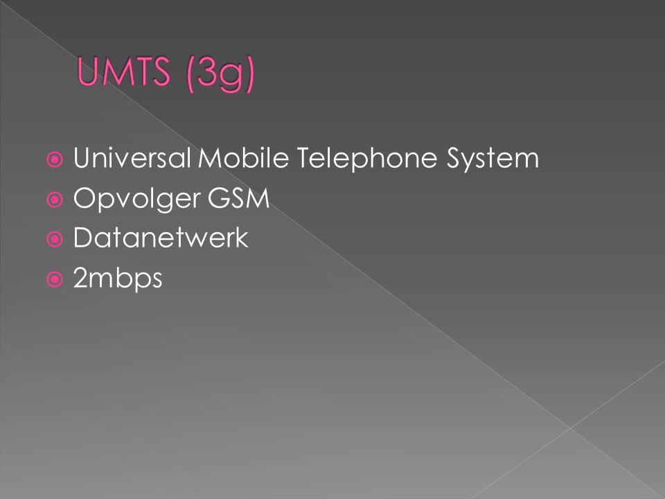 UMTS (3g) Universal Mobile Telephone System Opvolger GSM Datanetwerk