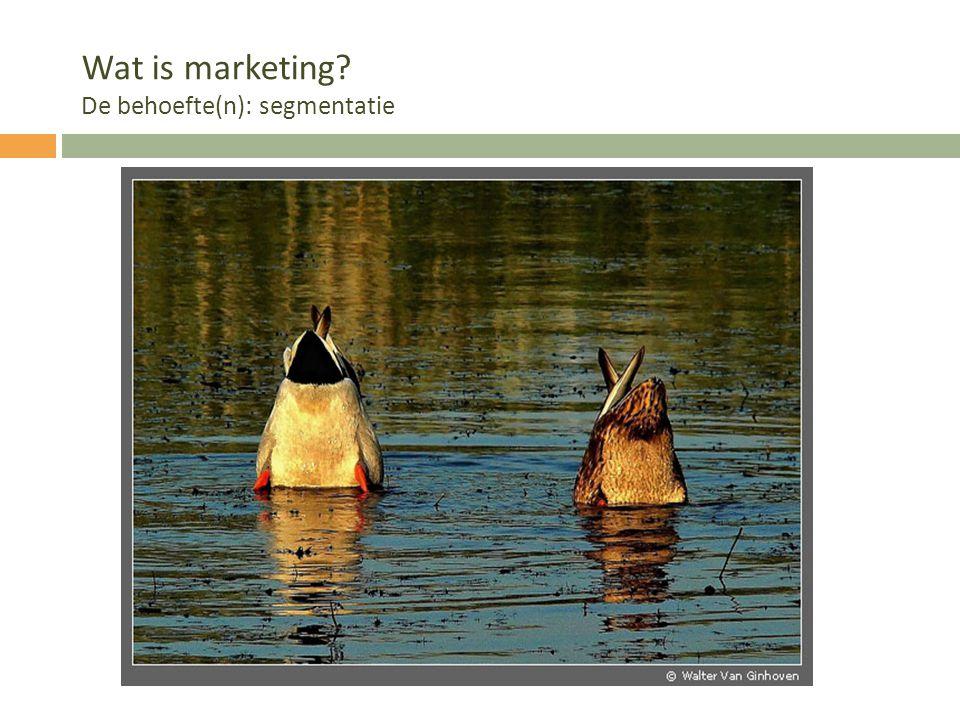Wat is marketing De behoefte(n): segmentatie