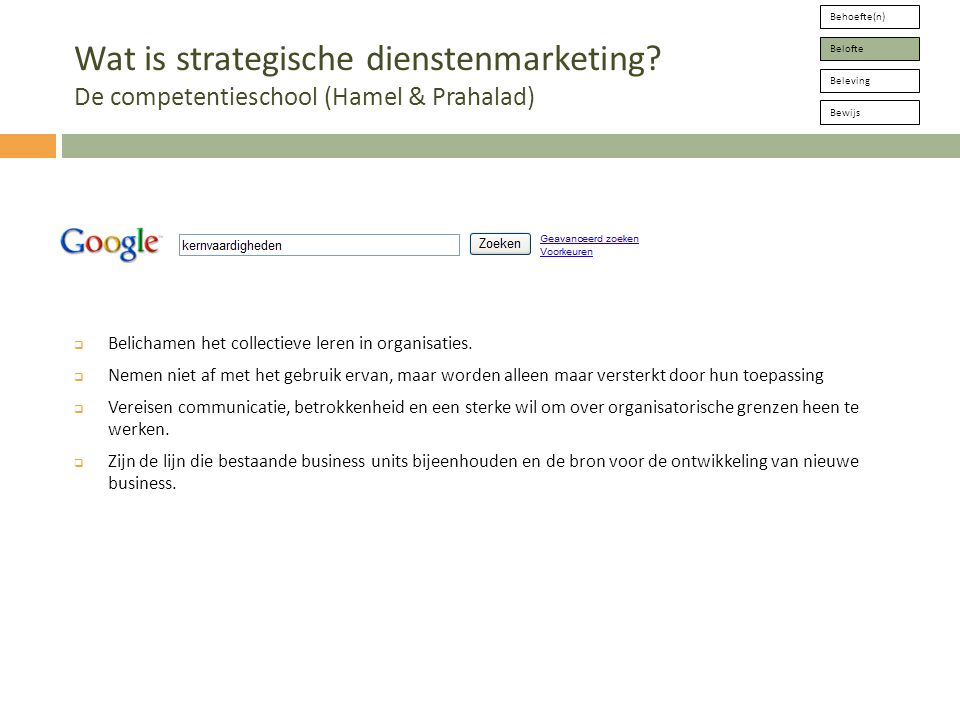 Behoefte(n) Belofte. Beleving. Bewijs. Wat is strategische dienstenmarketing De competentieschool (Hamel & Prahalad)