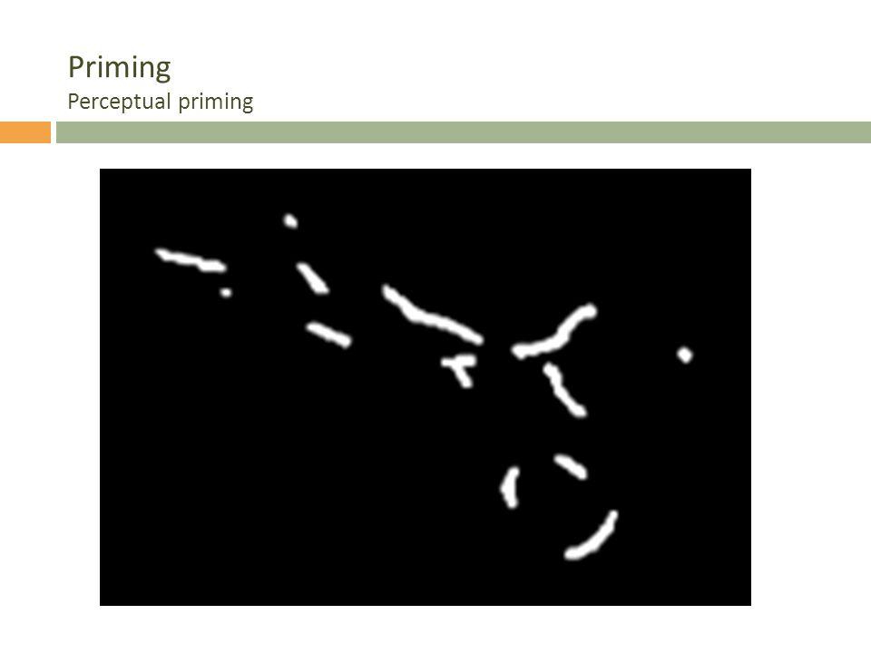 Priming Perceptual priming