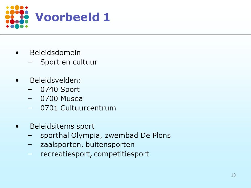 Voorbeeld 1 Beleidsdomein Sport en cultuur Beleidsvelden: 0740 Sport