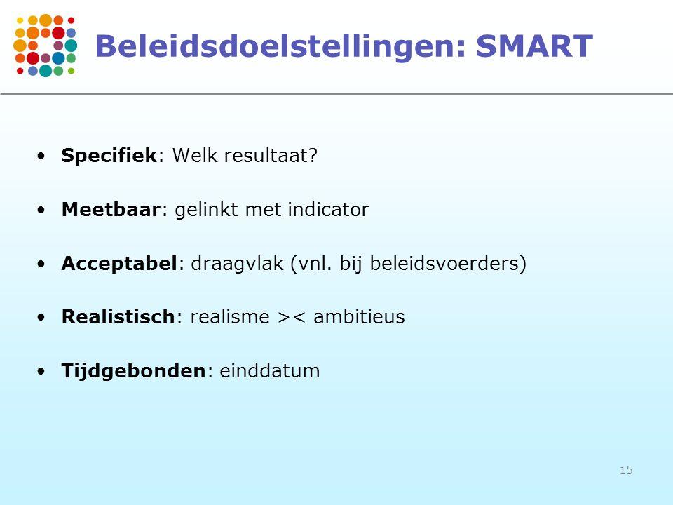 Beleidsdoelstellingen: SMART