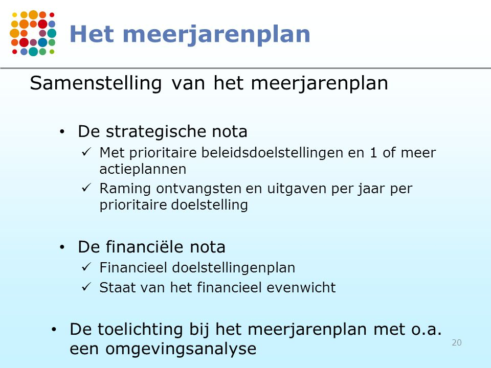 Het meerjarenplan Samenstelling van het meerjarenplan