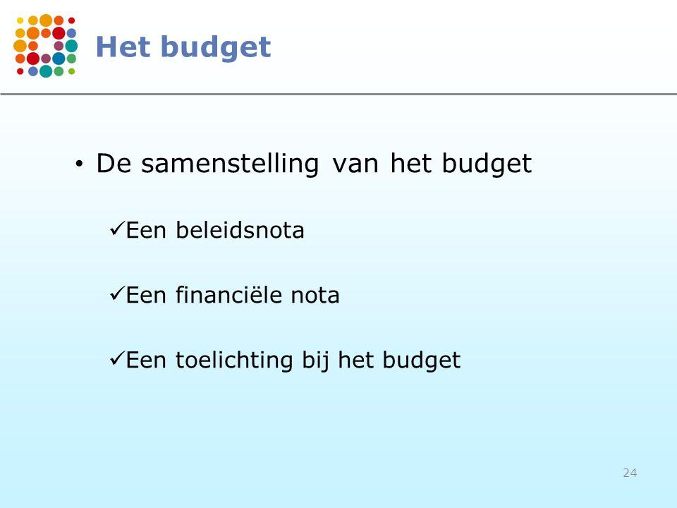 Het budget De samenstelling van het budget Een beleidsnota