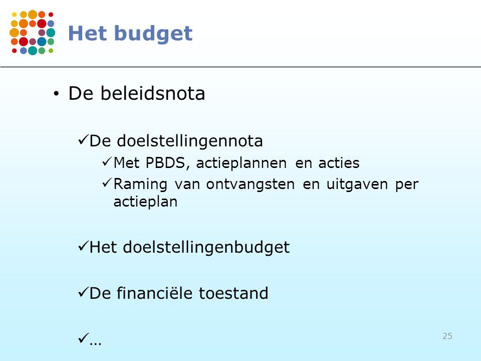 Het budget De beleidsnota De doelstellingennota