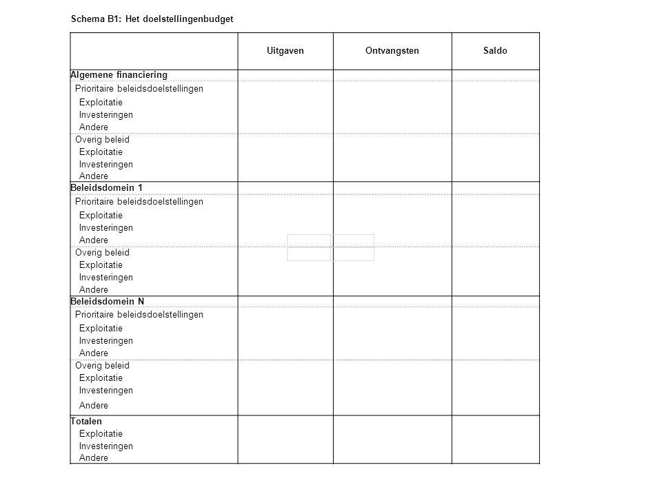 Schema B1: Het doelstellingenbudget
