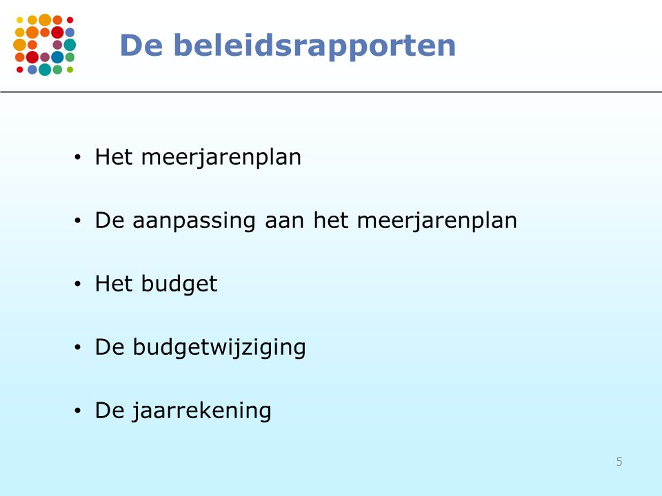 De beleidsrapporten Het meerjarenplan