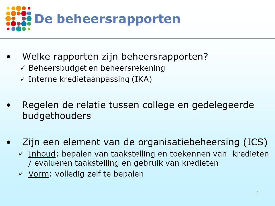 De beheersrapporten Welke rapporten zijn beheersrapporten