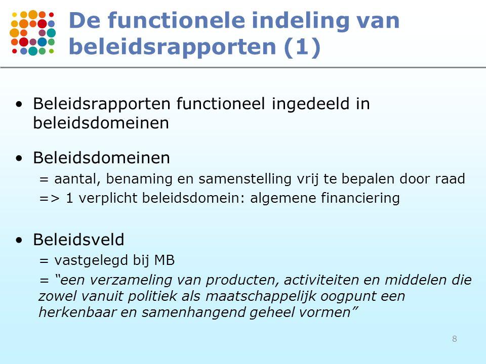 De functionele indeling van beleidsrapporten (1)