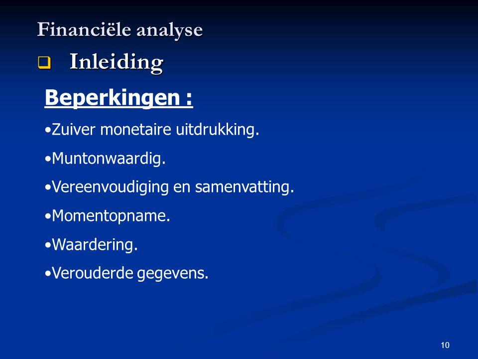 Inleiding Financiële analyse Beperkingen :