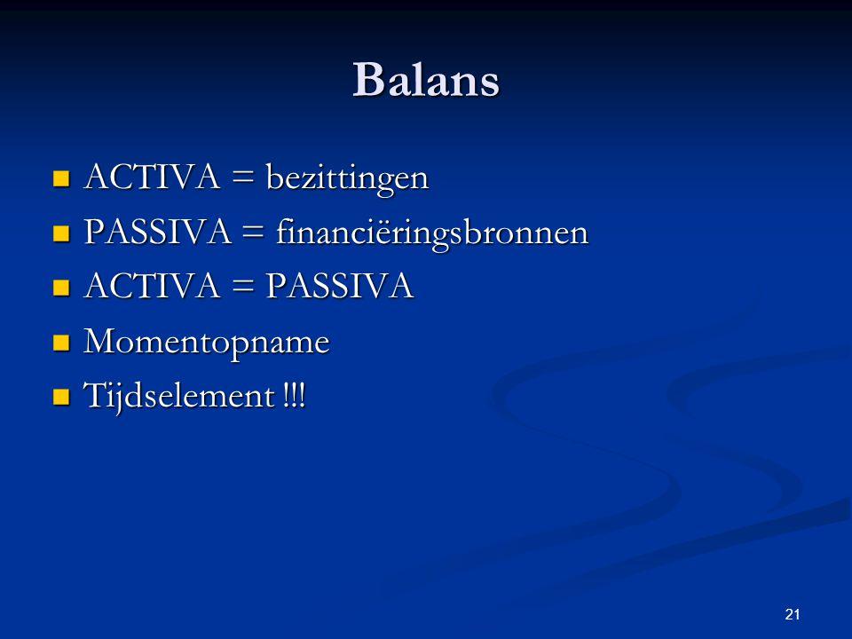Balans ACTIVA = bezittingen PASSIVA = financiëringsbronnen