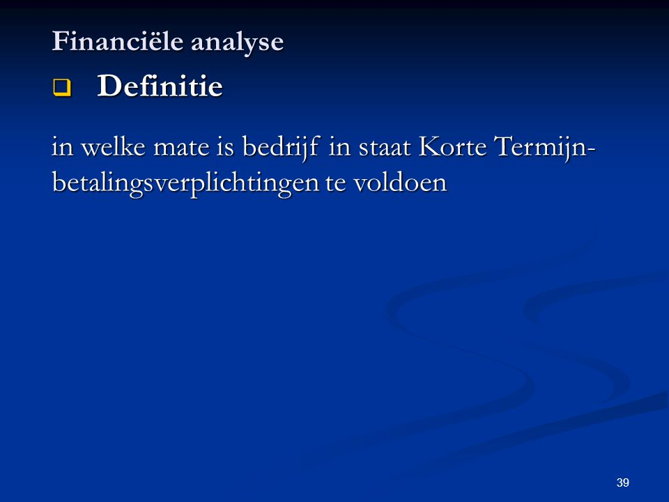 Definitie Financiële analyse