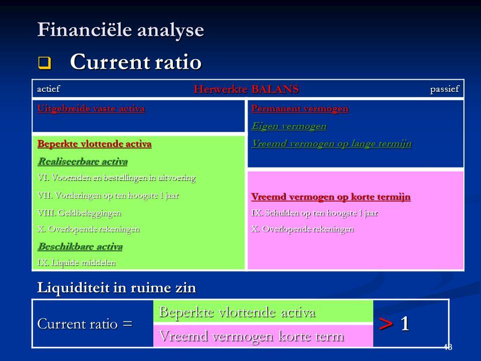 Current ratio > Financiële analyse 1 Liquiditeit in ruime zin
