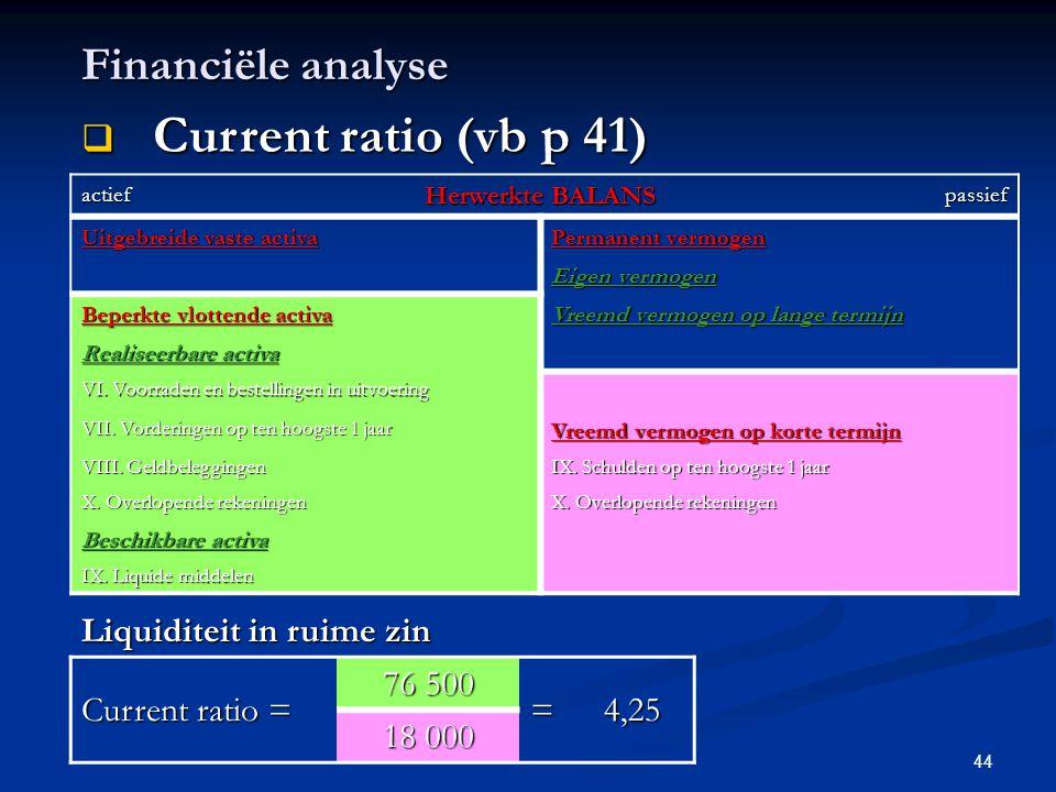 Current ratio (vb p 41) Financiële analyse Liquiditeit in ruime zin