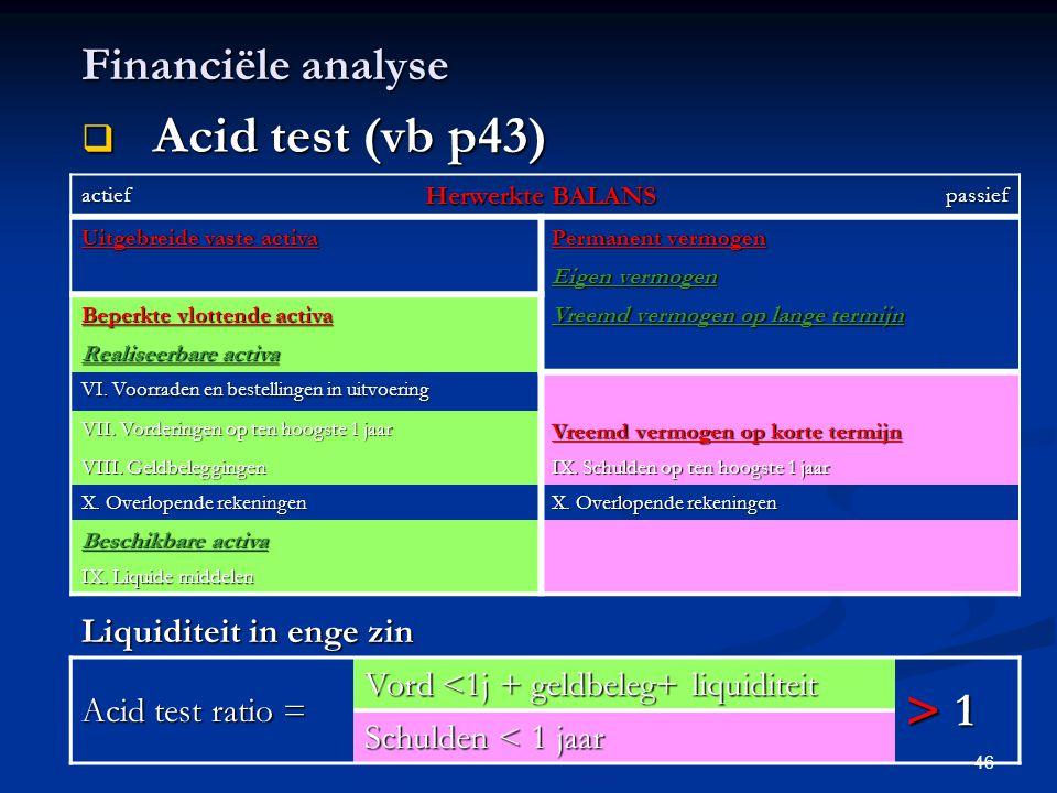 Acid test (vb p43) > Financiële analyse 1 Liquiditeit in enge zin