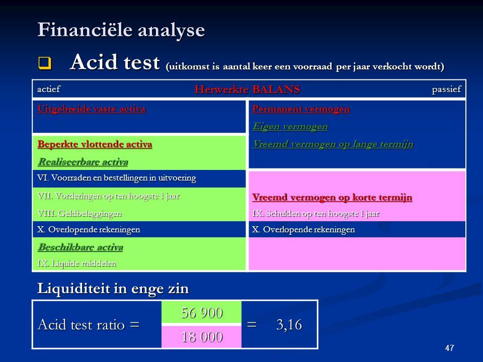 Financiële analyse Acid test (uitkomst is aantal keer een voorraad per jaar verkocht wordt) actief.