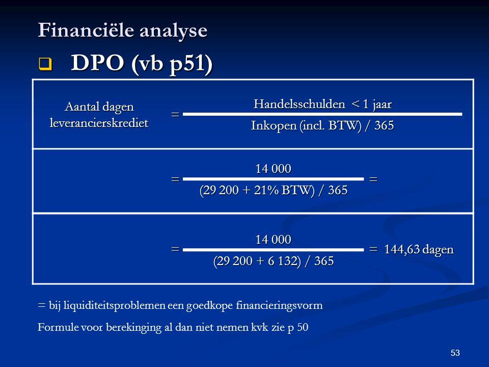 DPO (vb p51) Financiële analyse Aantal dagen leverancierskrediet =