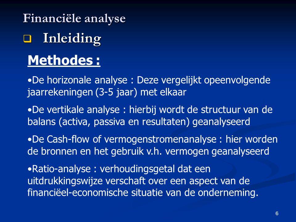 Inleiding Financiële analyse Methodes :